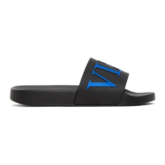 Photo: Valentino Black and Blue Valentino Garavani VLTN Slides