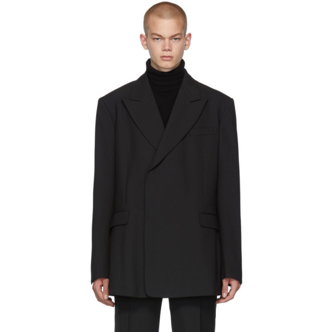 Raf Simons Black Fitted Double Breasted Blazer