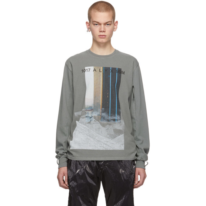 1017 ALYX 9SM Grey Ex Nihilo City Mountain Long Sleeve T-Shirt