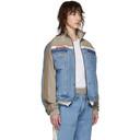 Martine Rose Blue and Beige Denim Hybrid Track Jacket