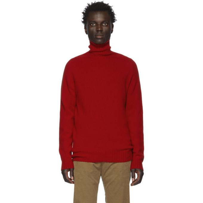 Officine Generale Red Wool Seamless Turtleneck