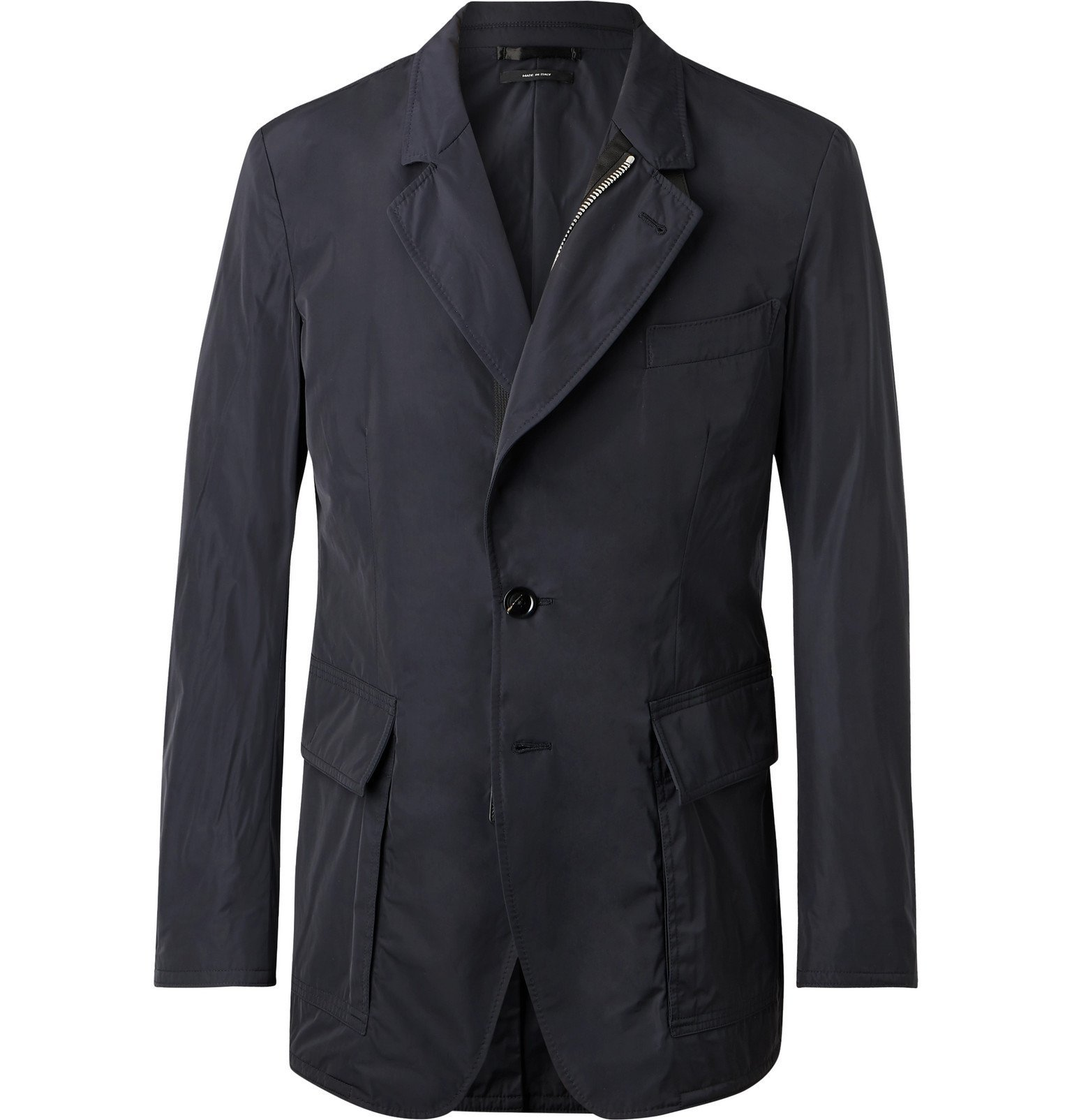 Photo: TOM FORD - Slim-Fit Leather-Trimmed Shell Blazer - Blue