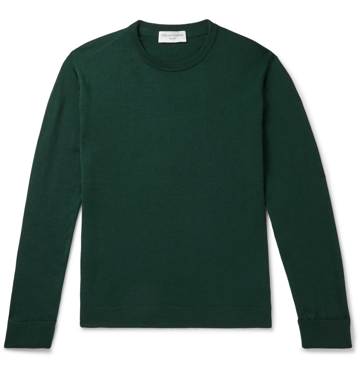 Photo: Officine Generale - Nina Slim-Fit Virgin Wool Sweater - Green