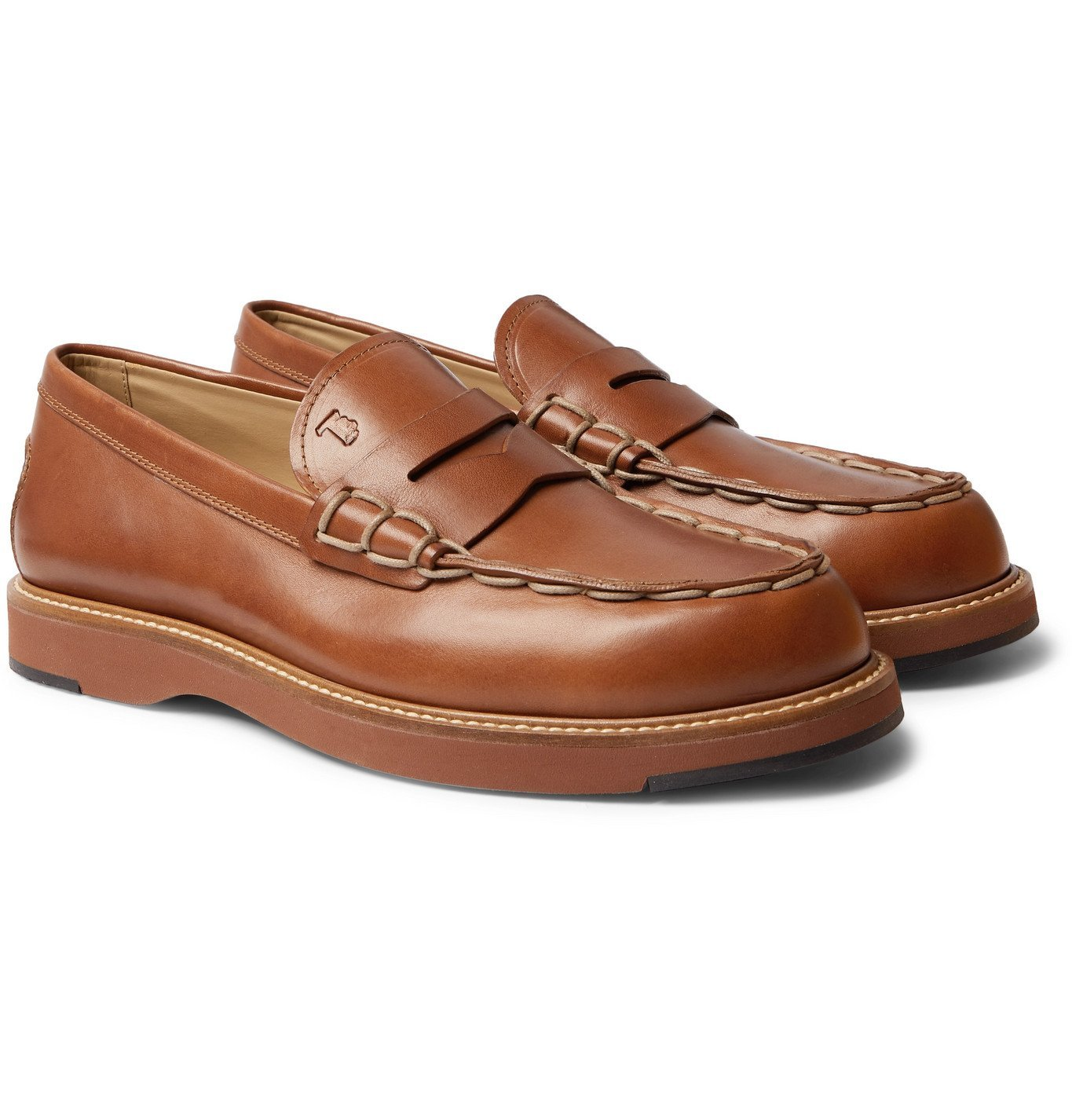 Photo: TOD'S - Contrast-Stitched Leather Loafers - Brown