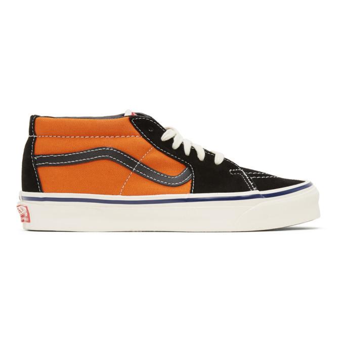 Photo: Vans Orange and Black OG Sk8-Hi LX Sneakers