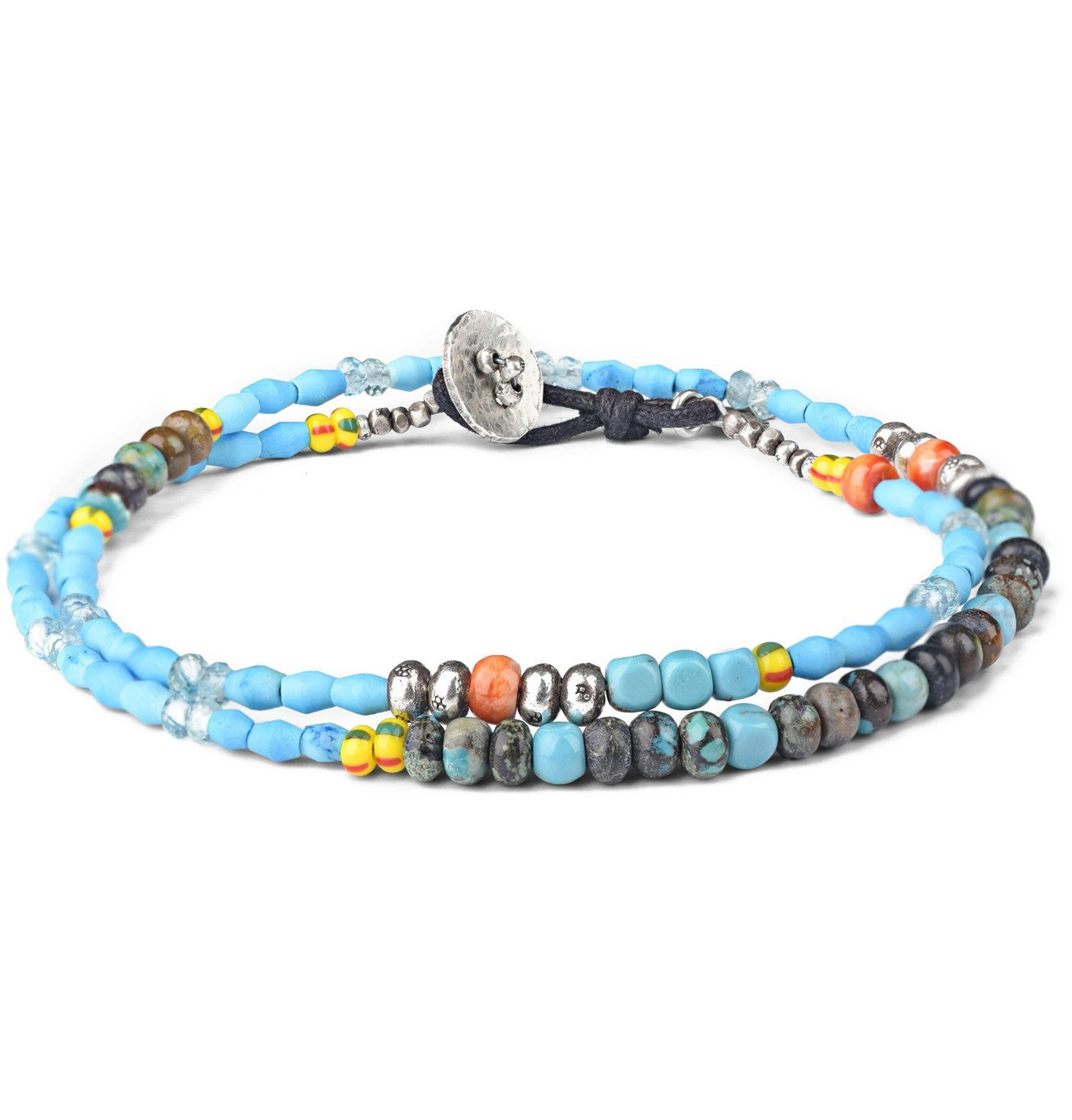 Photo: Peyote Bird - Multi-Stone, Sterling Silver and Leather Wrap Bracelet - Blue