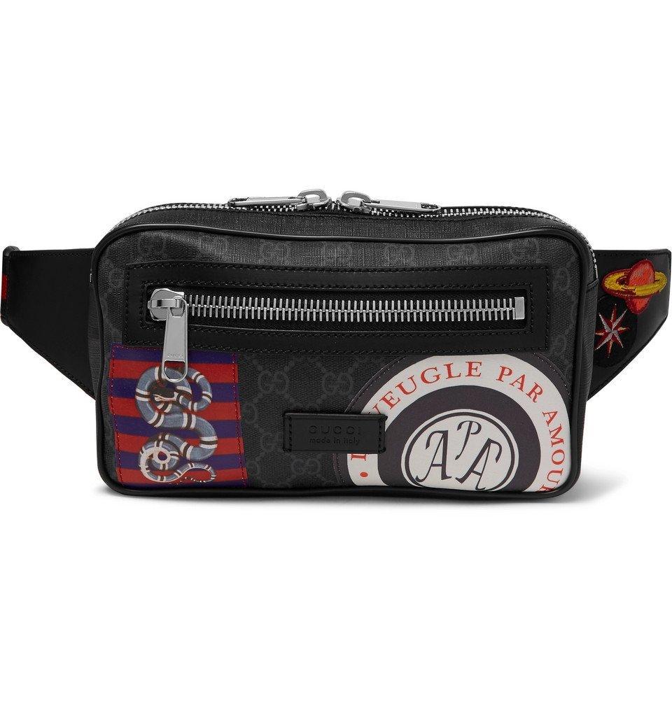 Photo: Gucci - Appliquéd Leather-Trimmed Monogrammed Coated-Canvas Belt Bag - Black