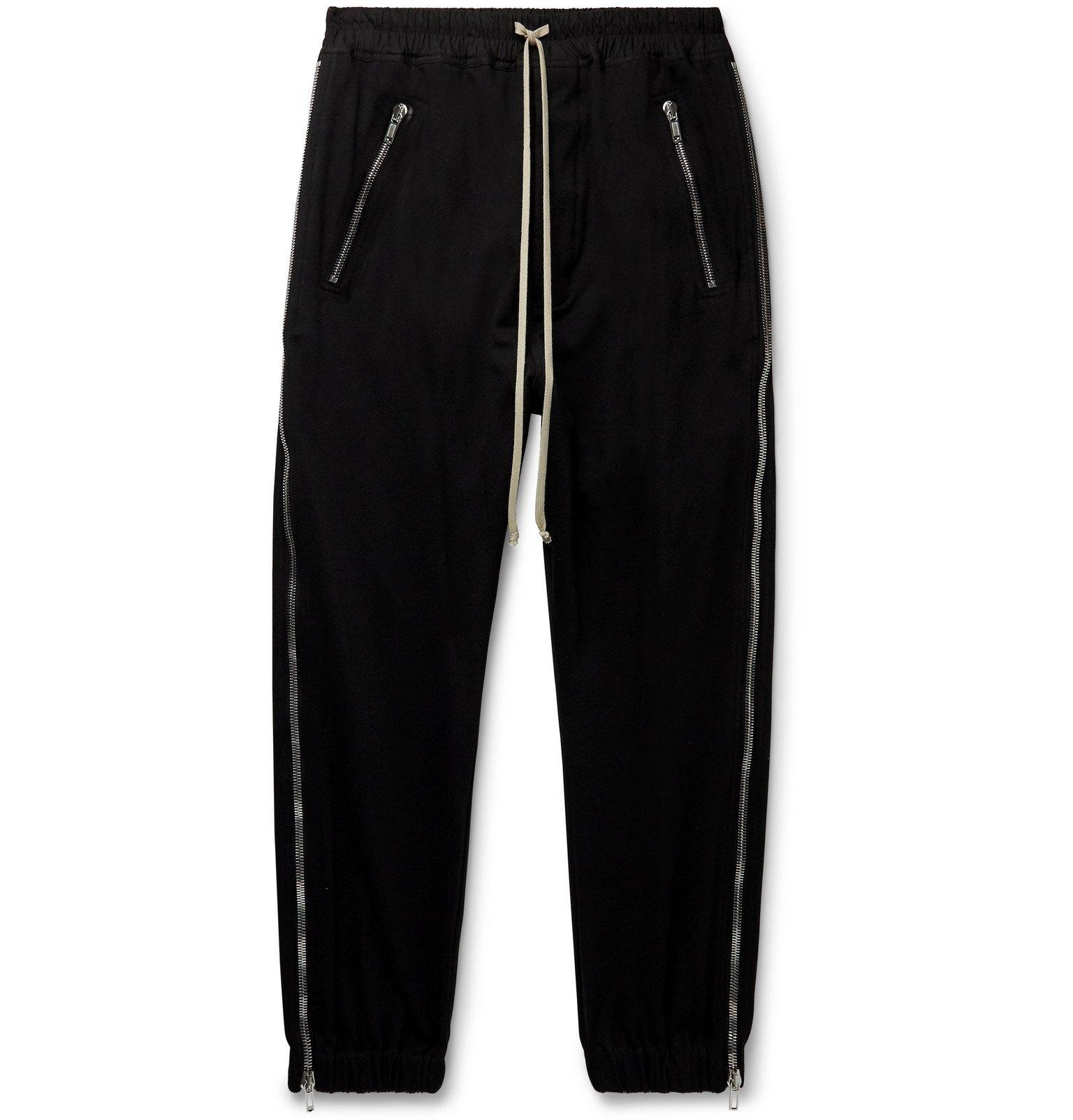 Photo: Rick Owens - Zipped Cotton-Jersey Drawstring Sweatpants - Black