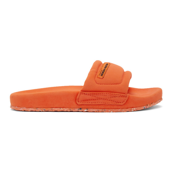 Photo: Heron Preston Orange Slider Sandals