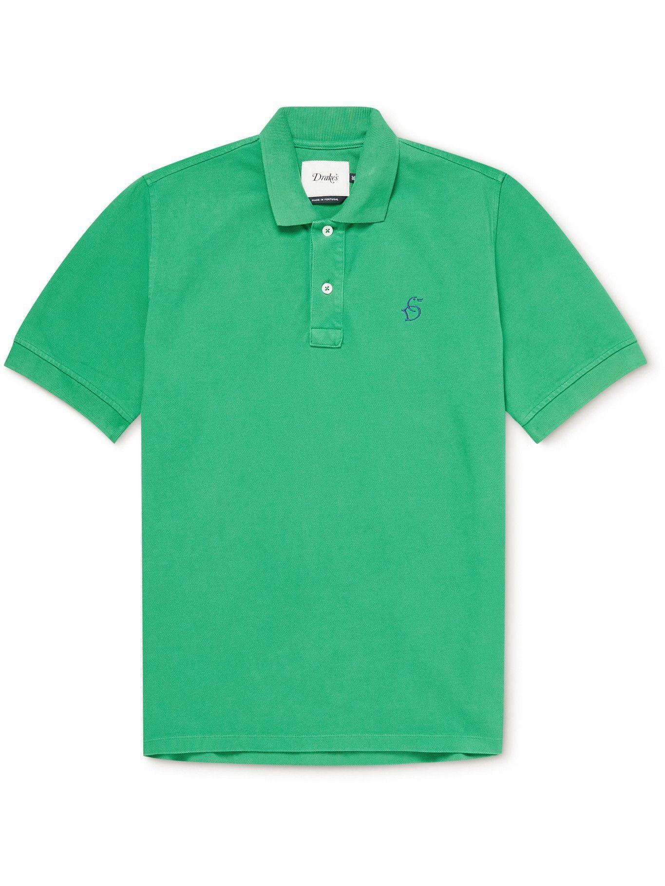 Photo: DRAKE'S - Logo-Embroidered Cotton-Piqué Polo Shirt - Green