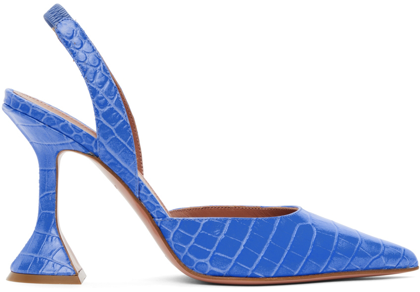 Amina Muaddi Blue Croc Holli Sling Heels
