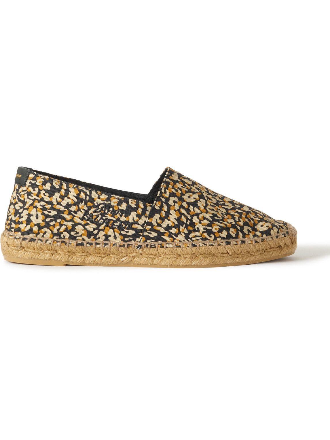 Photo: SAINT LAURENT - Leather-Trimmed Leopard-Print Cotton-Canvas Espadrilles - Brown