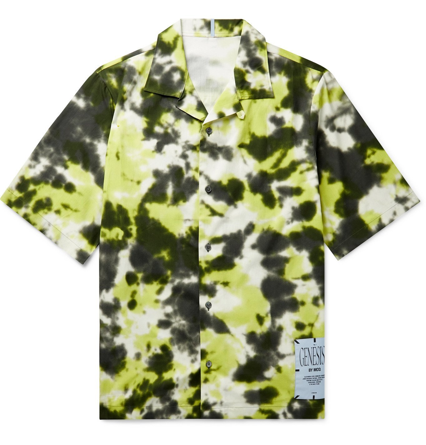 Photo: MCQ - Camp-Collar Appliquéd Tie-Dyed Cotton-Poplin Shirt - Yellow