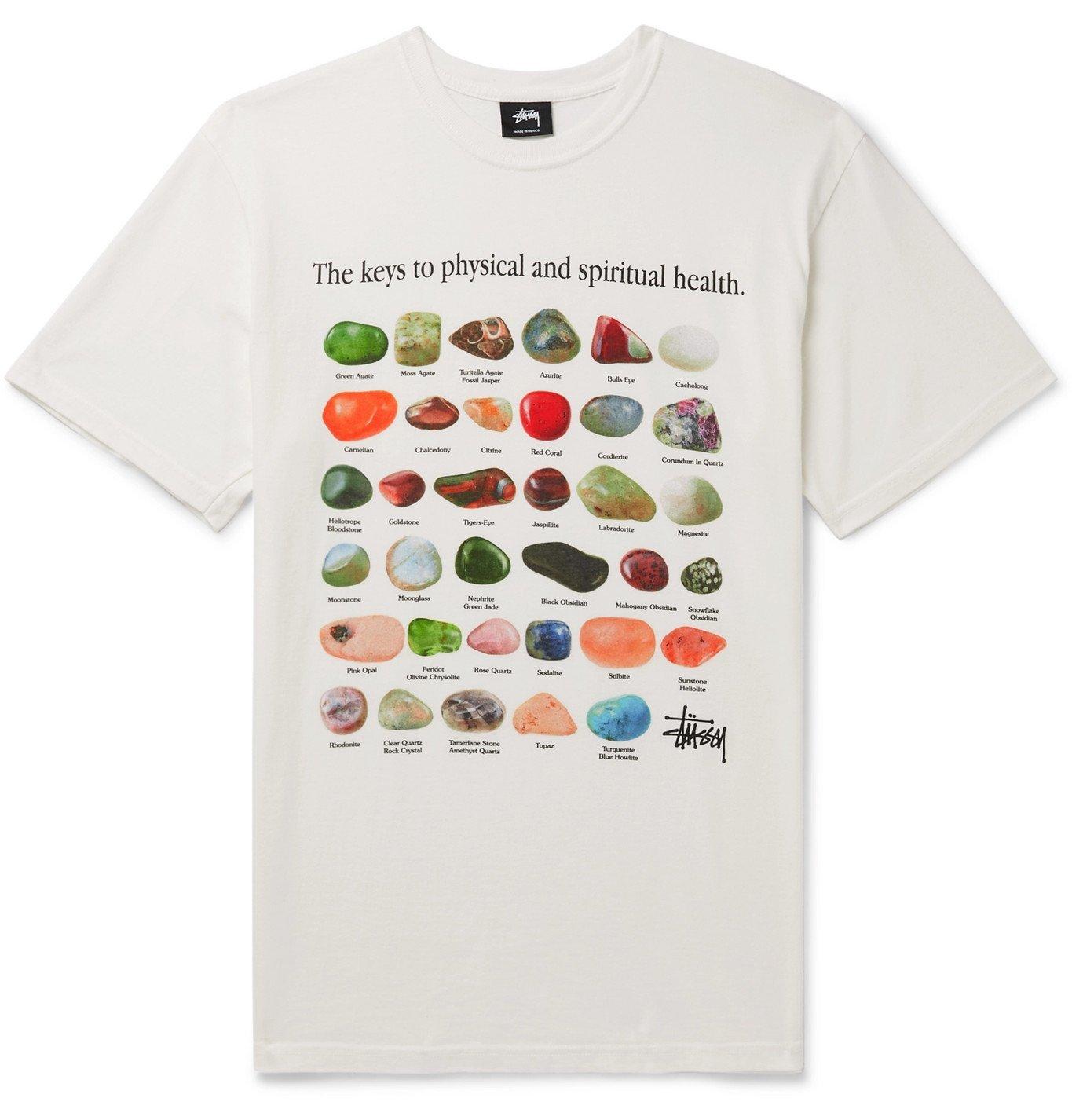 Photo: Stüssy - Printed Cotton-Jersey T-Shirt - Neutrals