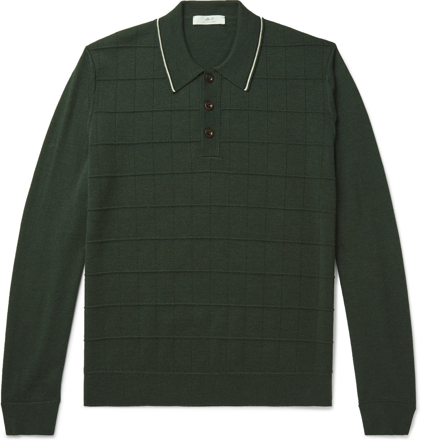 Photo: Mr P. - Slim-Fit Contrast-Tipped Textured Merino Wool Polo Shirt - Green