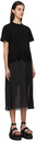 Sacai Black Jersey & Satin Lace Trim Dress