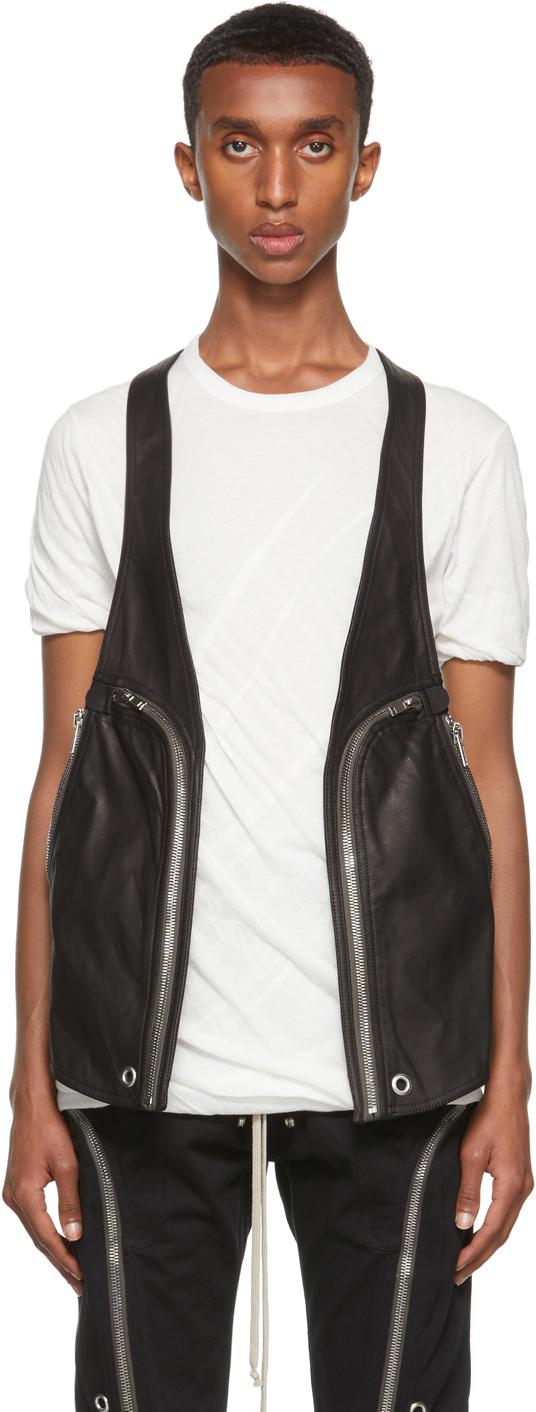 Photo: Rick Owens Black Leather Bauhaus Vest