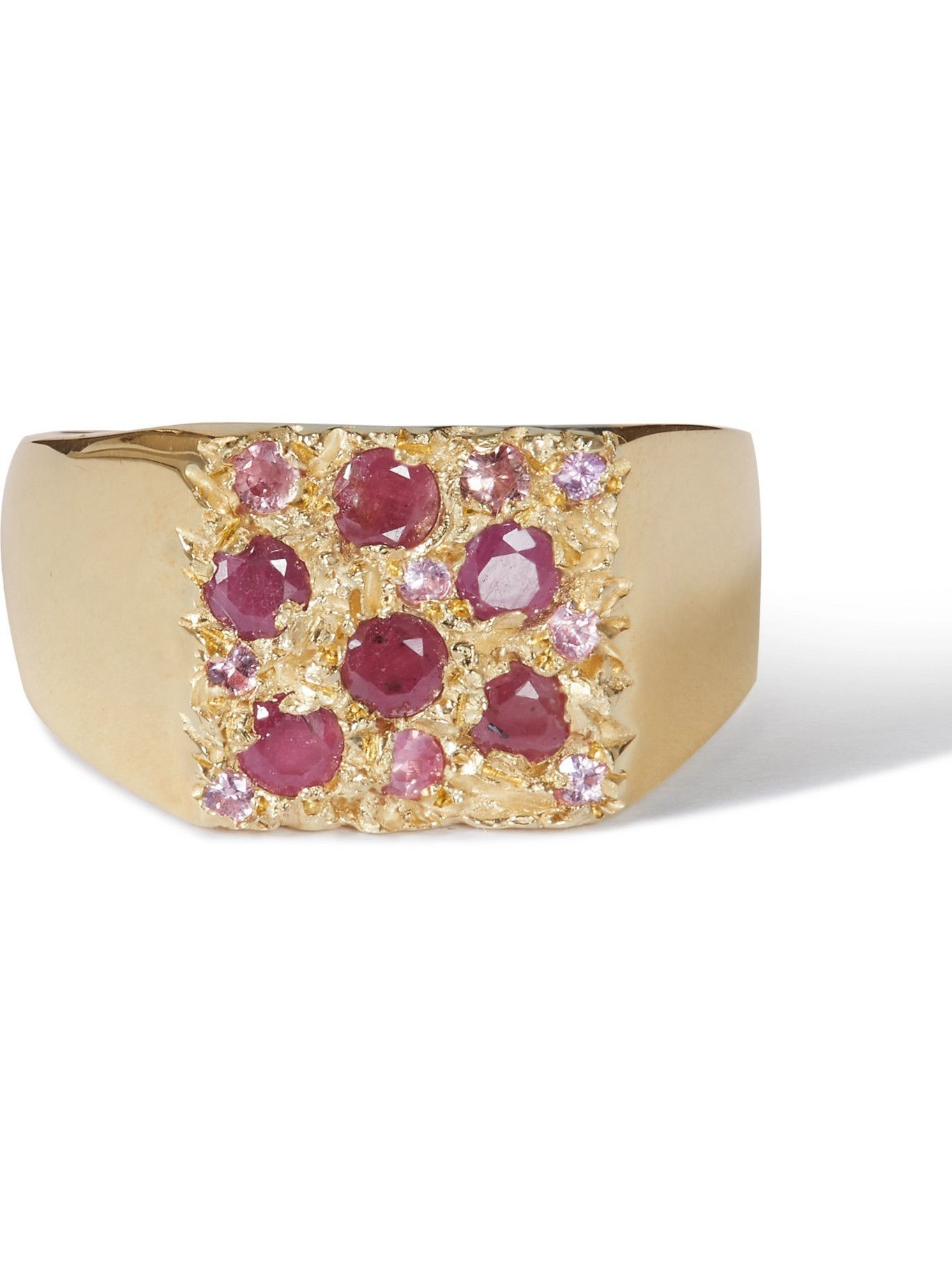 Photo: Bleue Burnham - Tuscany Superb Recycled 9-Karat Gold, Ruby and Sapphire Signet Ring - Gold