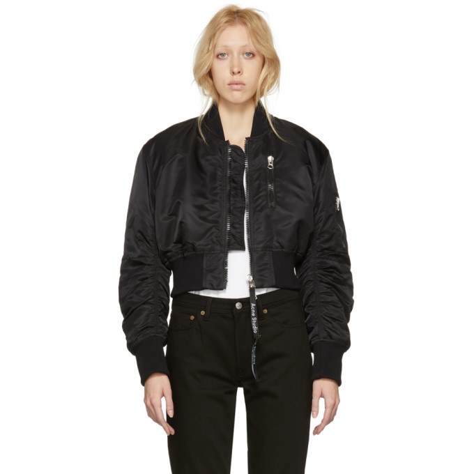 Acne Studios Black Alla Cropped Bomber Jacket