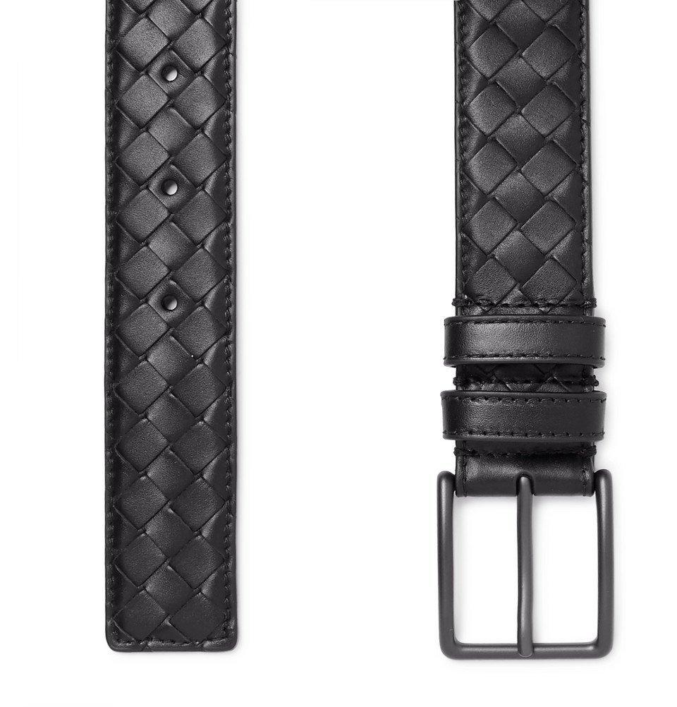 Bottega Veneta - 3cm Black Intrecciato Leather Belt - Men - Black