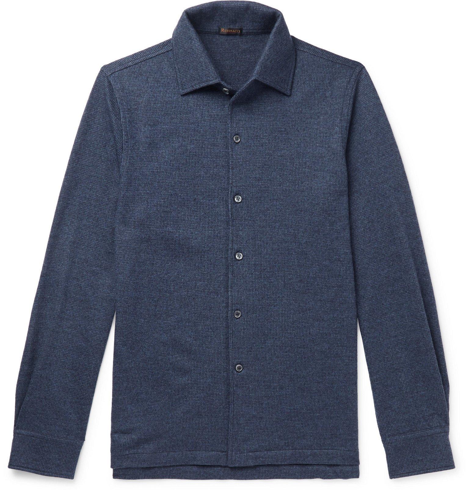 Photo: Rubinacci - Slim-Fit Puppytooth Cashmere Shirt - Blue
