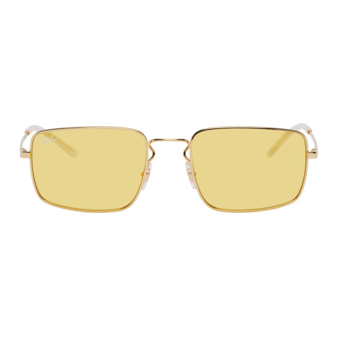 Photo: Ray-Ban Gold and Yellow Metal Square Sunglasses