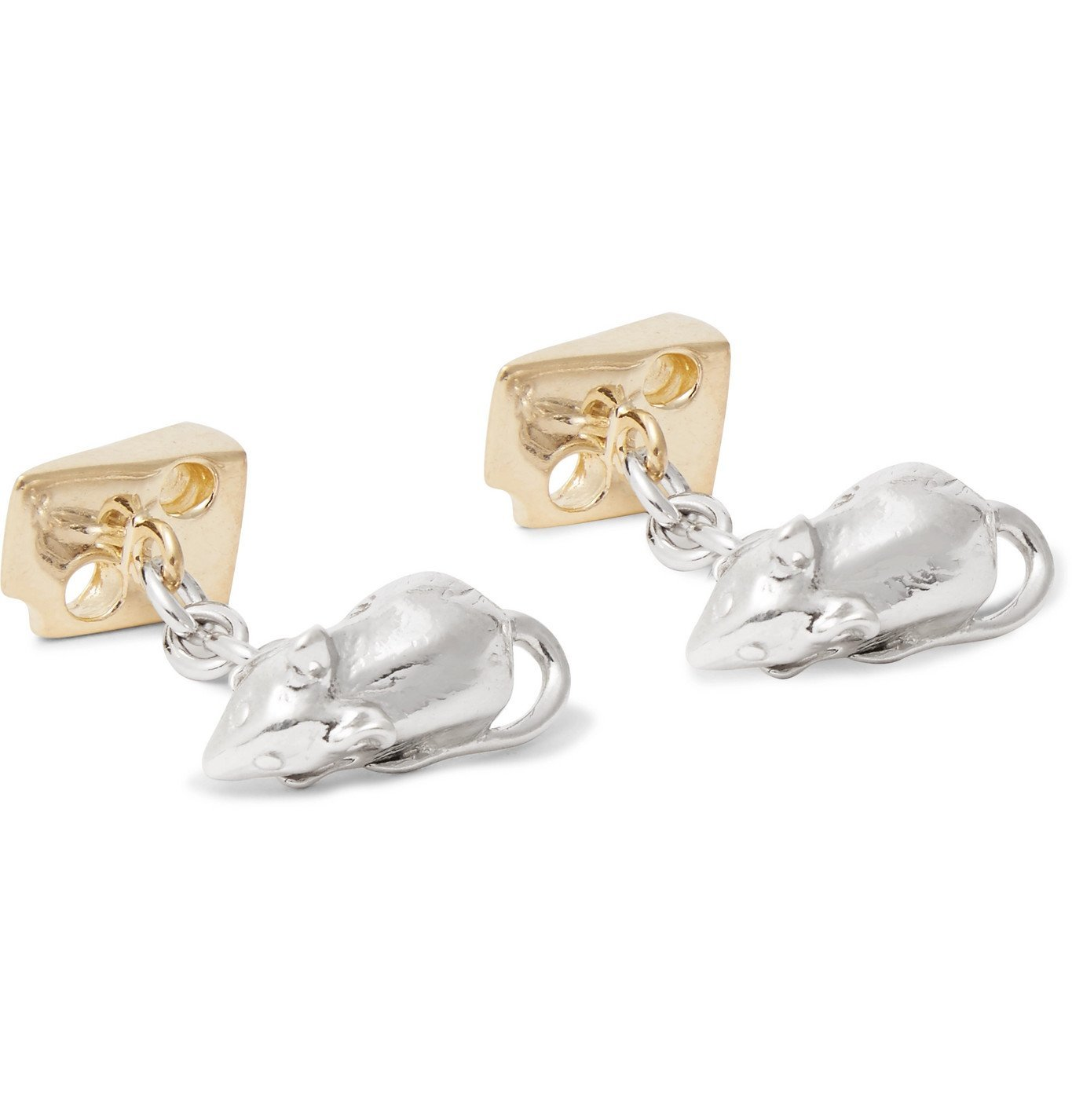 Photo: Asprey - Mouse and Cheese Gold-Gilded Sterling Silver Cufflinks - Silver