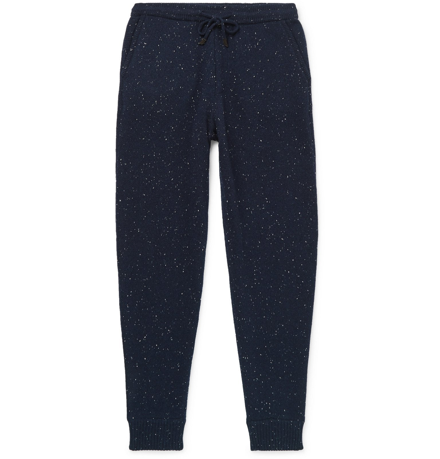 Photo: Ermenegildo Zegna - Tapered Donegal Wool, Silk and Cashmere-Blend Sweatpants - Blue