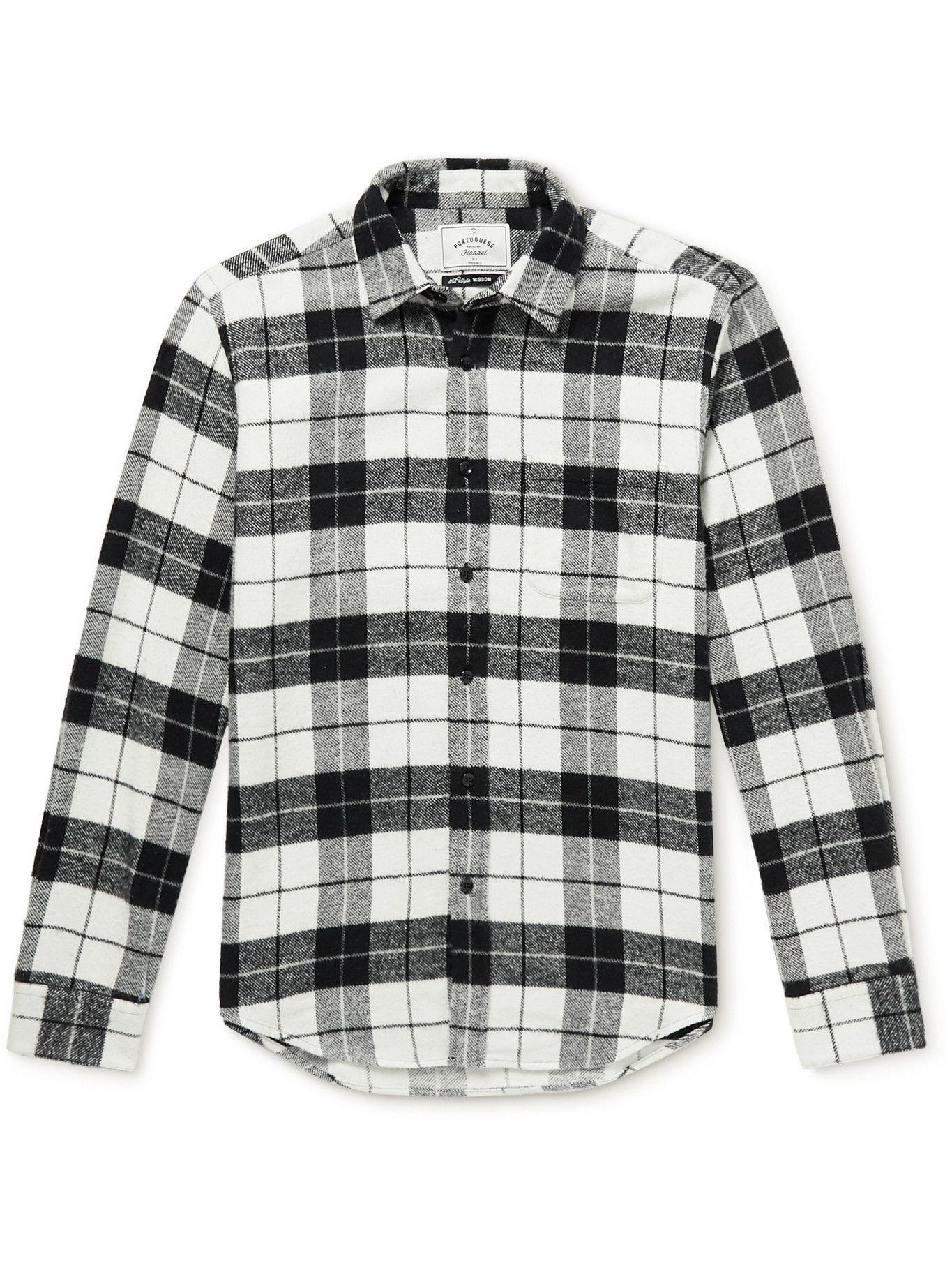 Photo: Portuguese Flannel - Colorado Checked Cotton-Flannel Shirt - Black