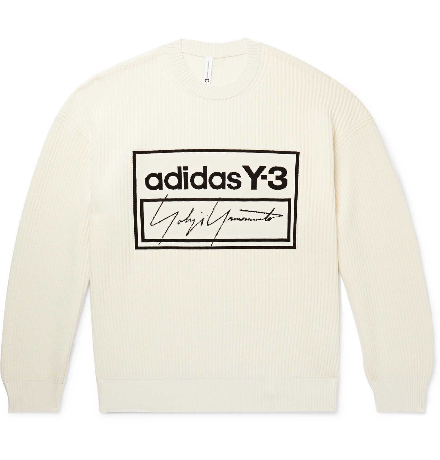 Photo: Y-3 - Oversized Logo-Jacquard Ribbed Cotton-Blend Sweater - Neutrals
