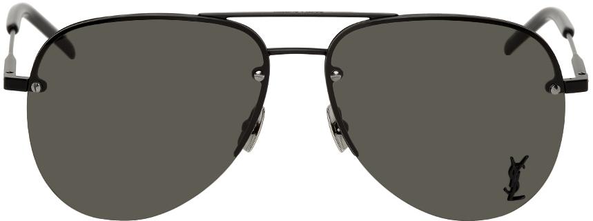 Photo: Saint Laurent Black Classic SL 11 Aviator Sunglasses