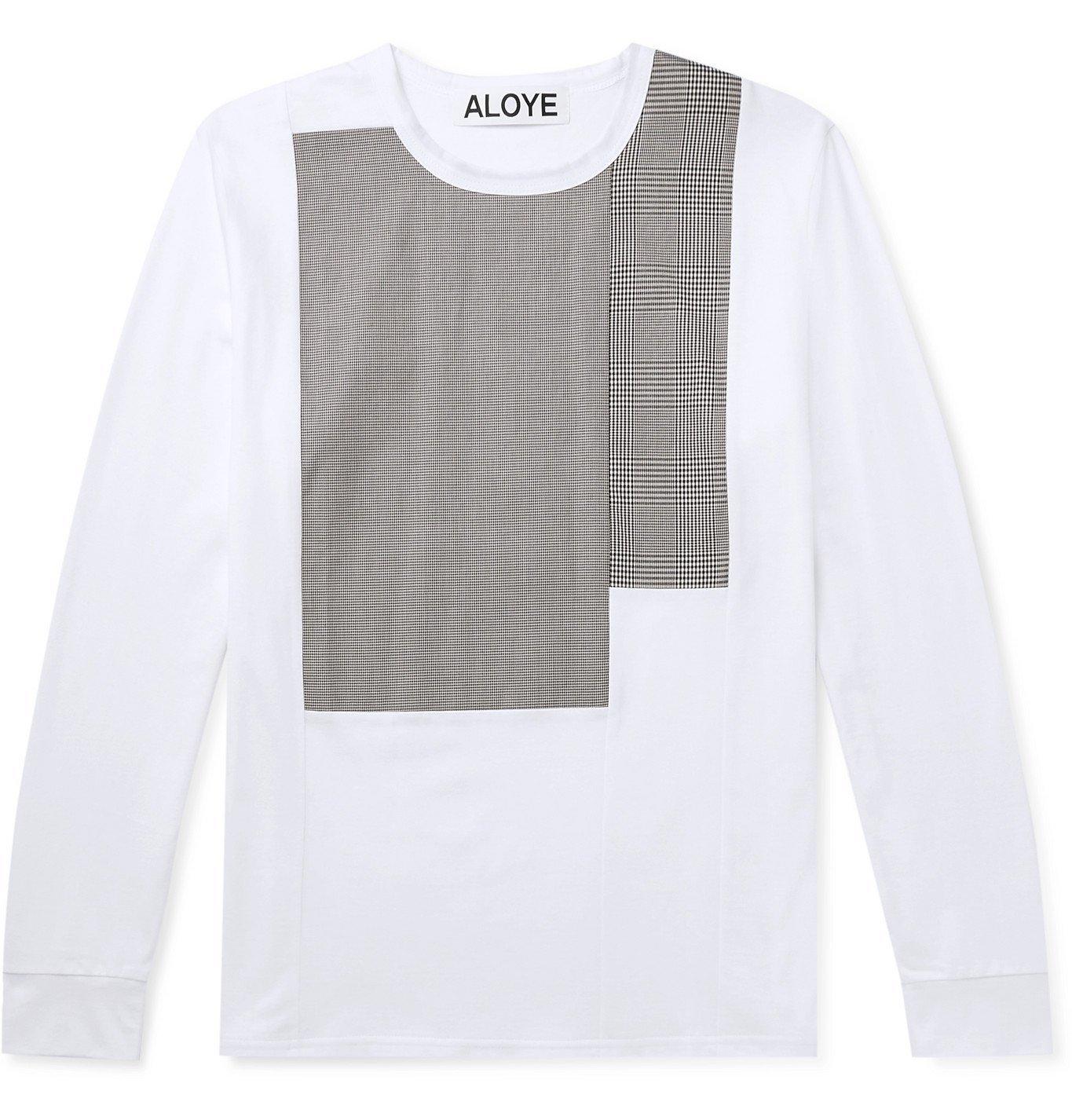 Photo: Aloye - Panelled Cotton-Jersey T-Shirt - White