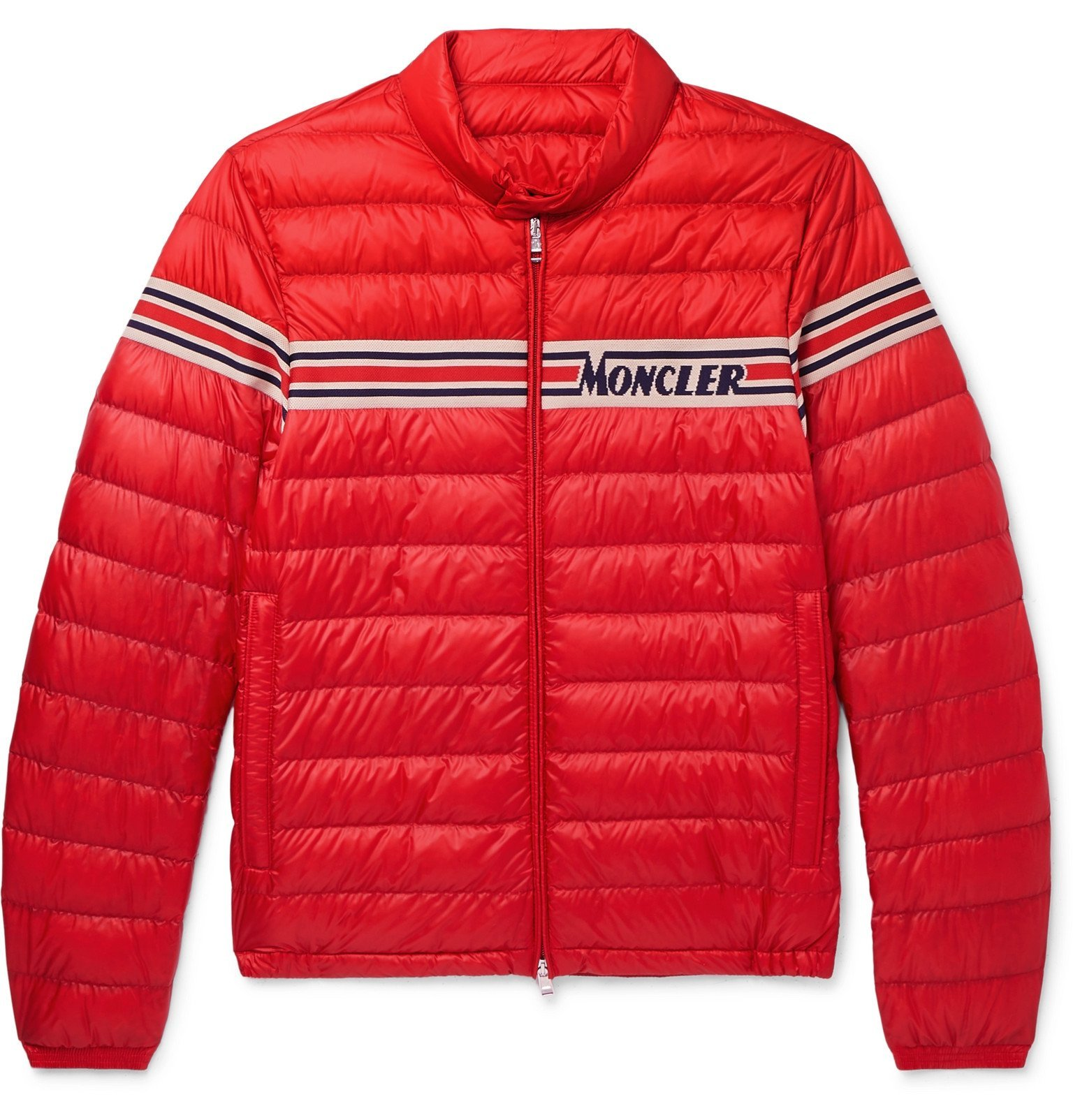 Photo: Moncler - Slim-Fit Striped Jacquard-Trimmed Quilted Shell Down Jacket - Red