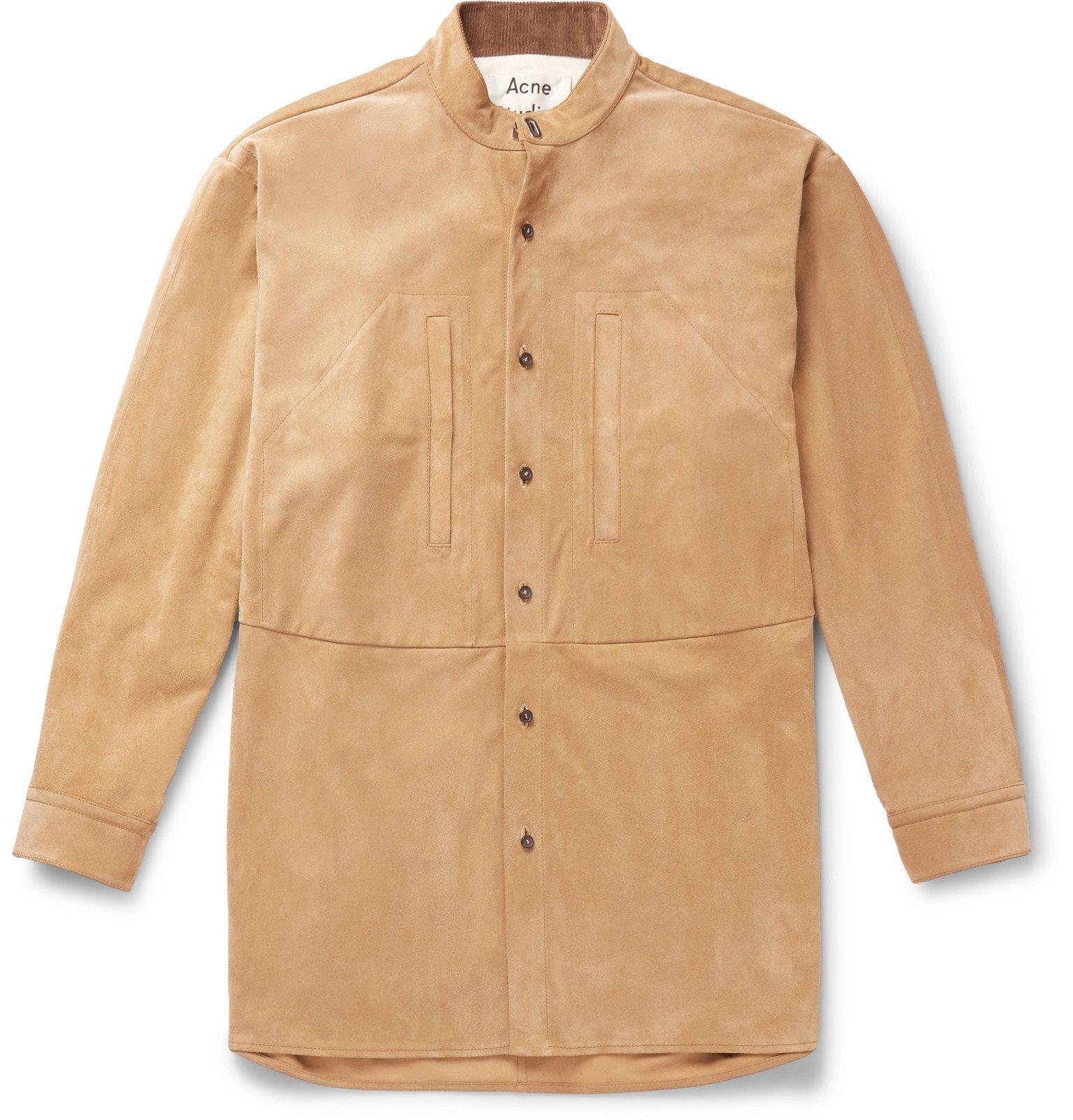 Photo: Acne Studios - Litka Oversized Grandad-Collar Suede Overshirt - Neutrals