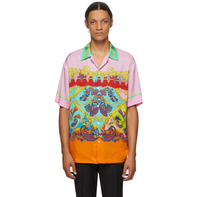 Photo: Versace Jeans Couture Pink Paisley Fantasy Short Sleeve Shirt