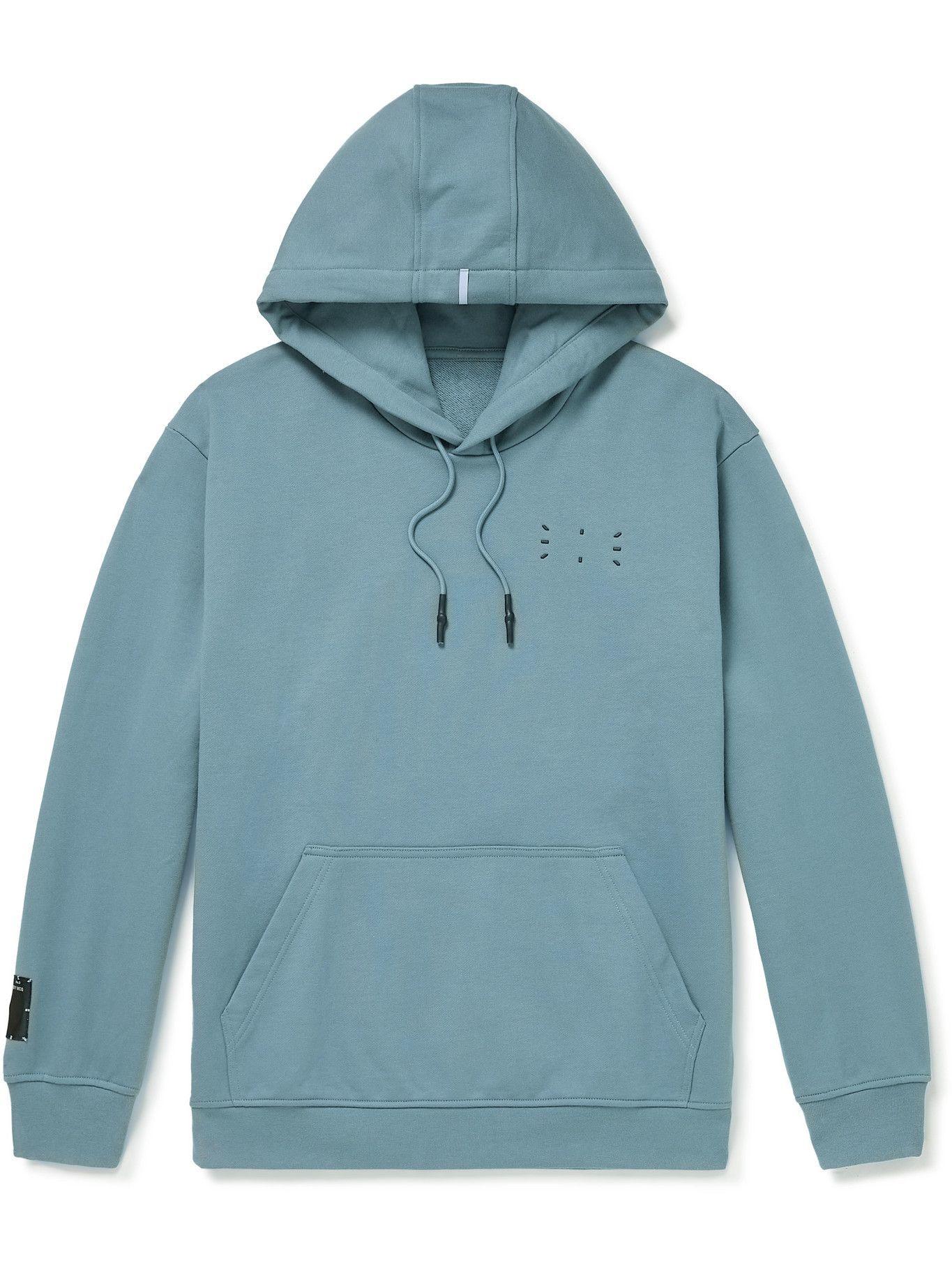 MCQ - Appliquéd Cotton-Jersey Hoodie - Blue