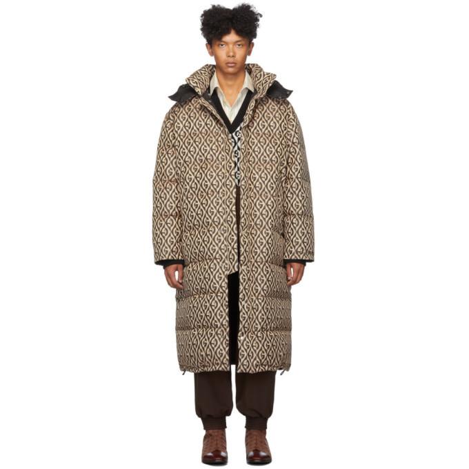Photo: Gucci Black and Beige Down Mini G Rhombus Coat