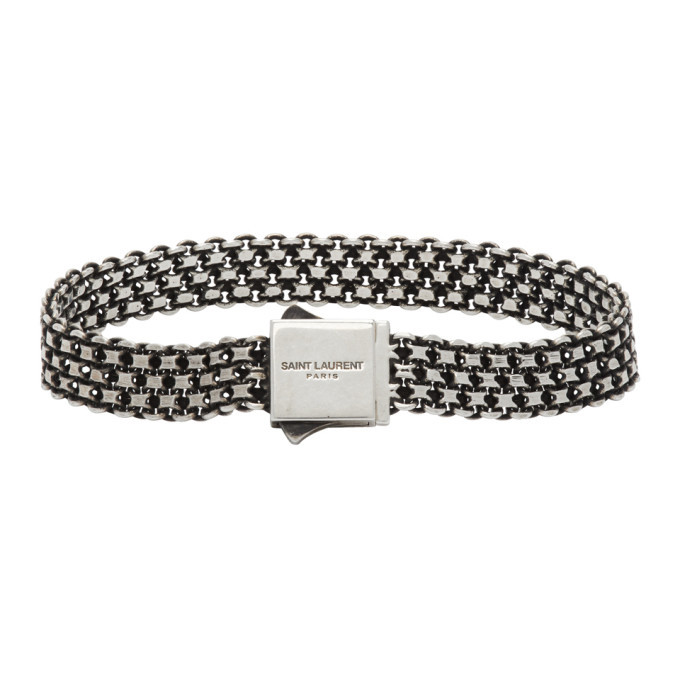 Photo: Saint Laurent Silver Metal Weave Bracelet