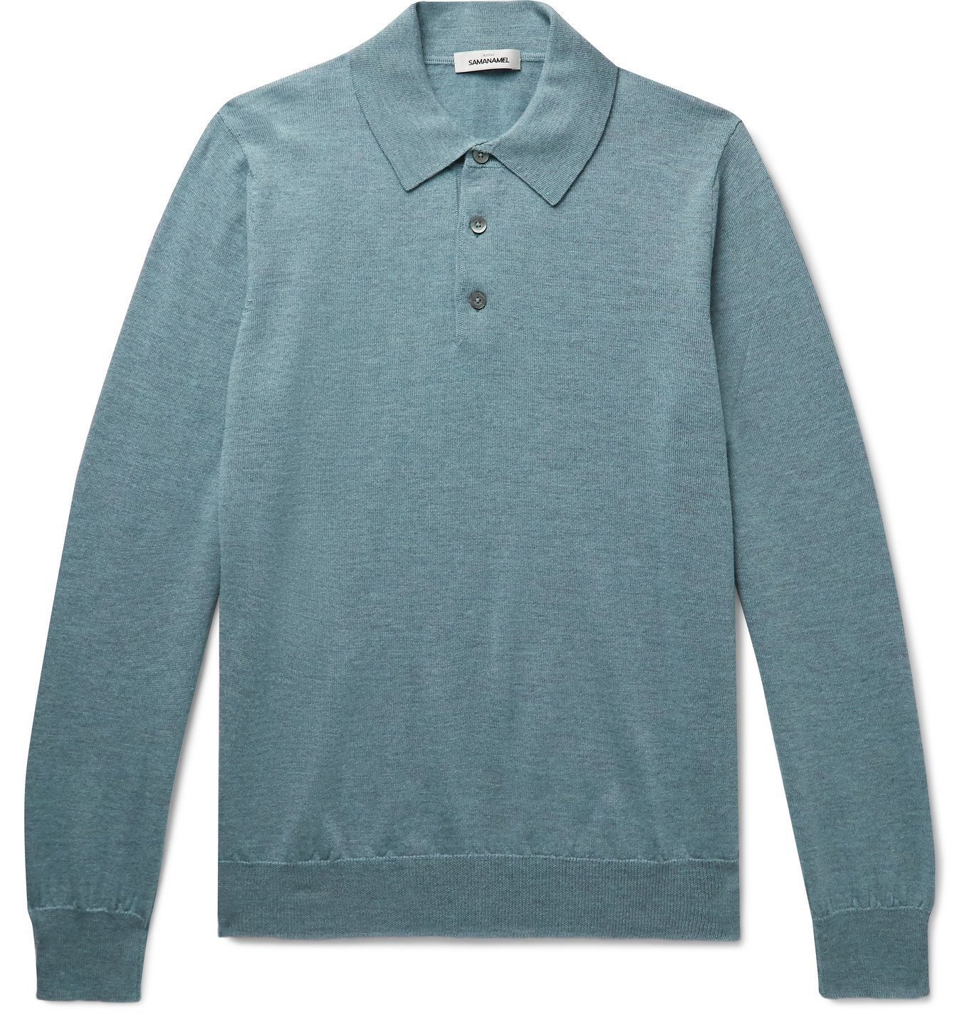 Saman Amel - Merino Wool Polo Shirt - Blue