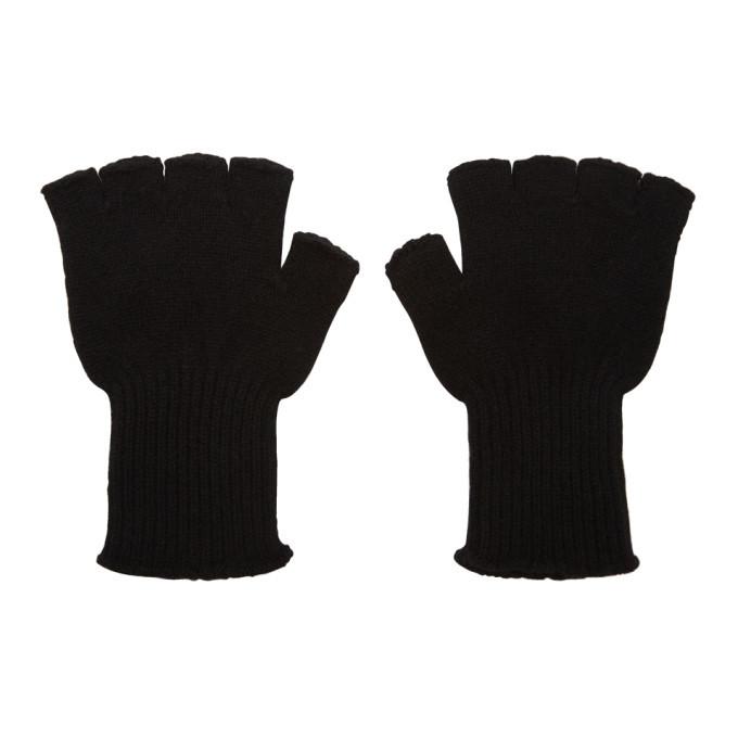 The Elder Statesman Black Cashmere Heavy Fingerless Gloves