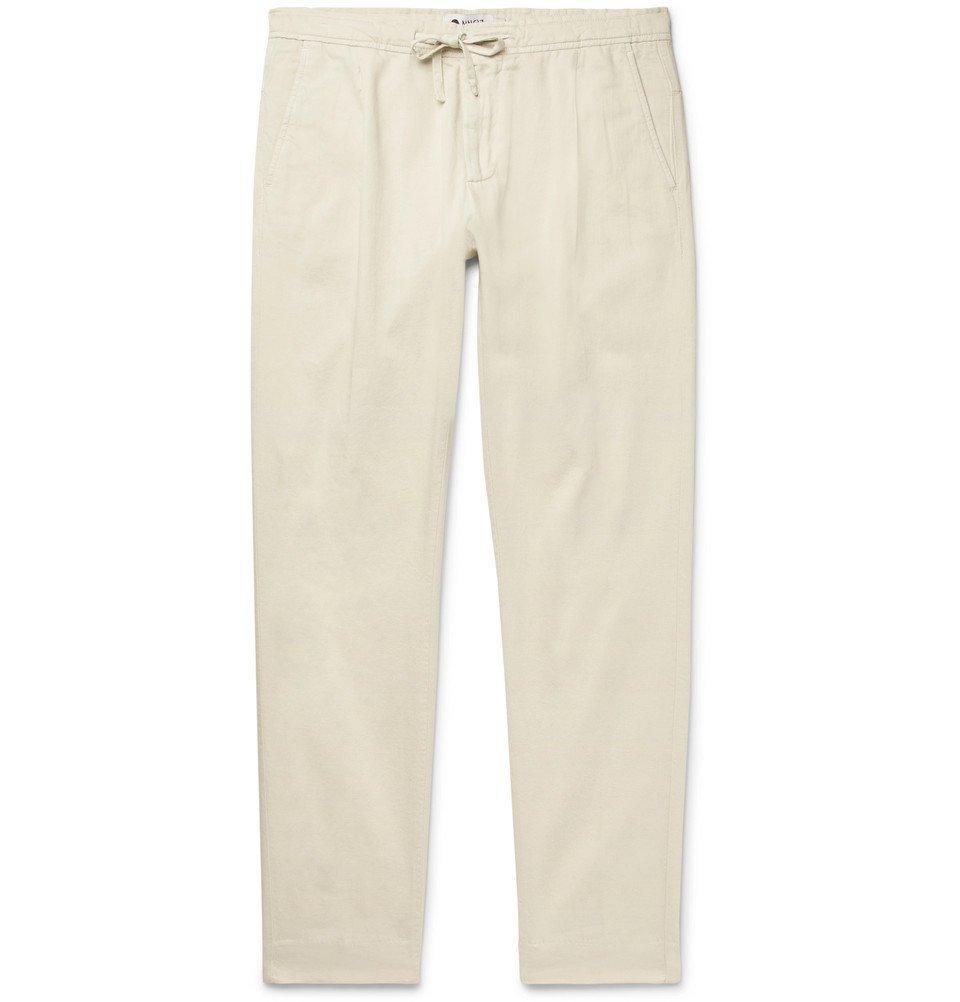 Photo: NN07 - Domenico Tapered Pleated Cotton-Blend Twill Drawstring Trousers - Ecru