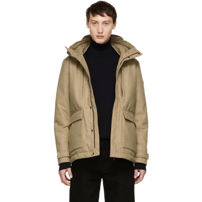 Photo: Woolrich John Rich and Bros Beige Down Tech Wool Mountain Jacket