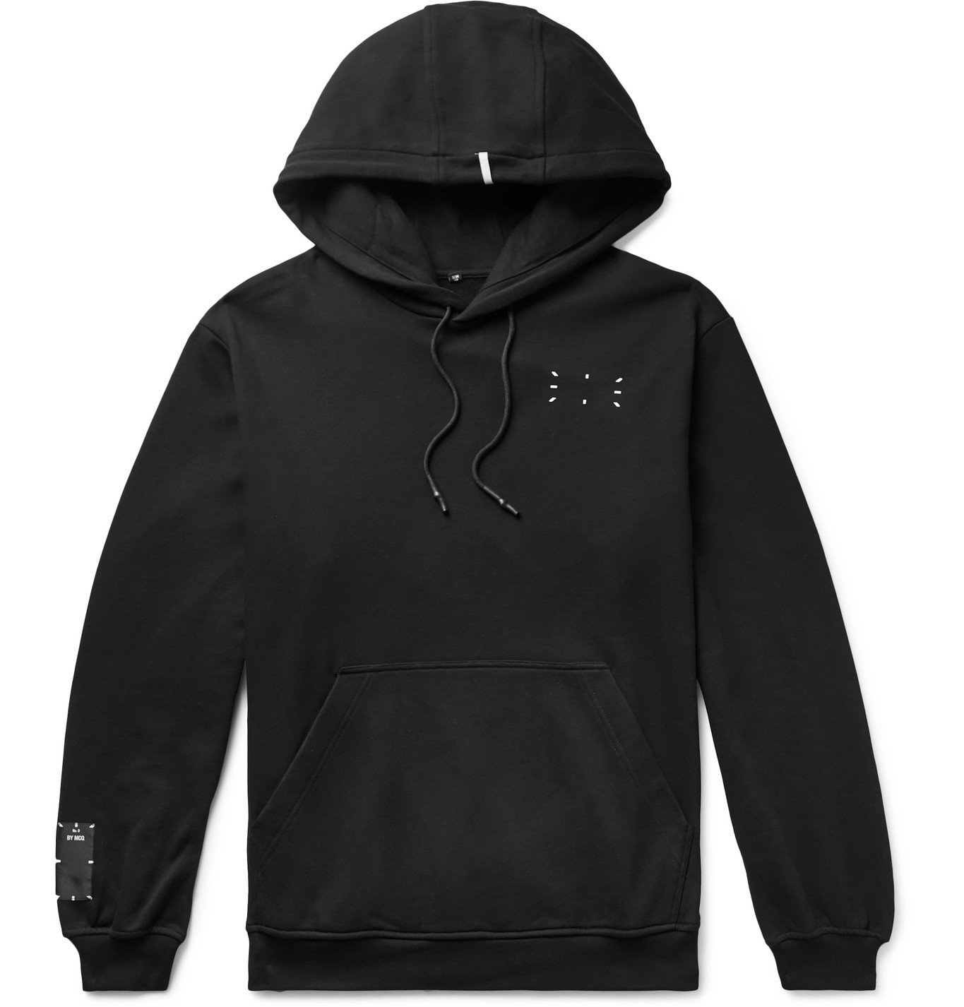 Photo: MCQ - Appliquéd Printed Loopback Cotton-Jersey Hoodie - Black