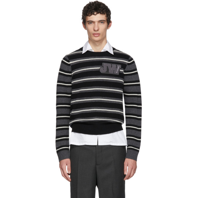 Photo: JW Anderson Black and White Striped Logo Sweater