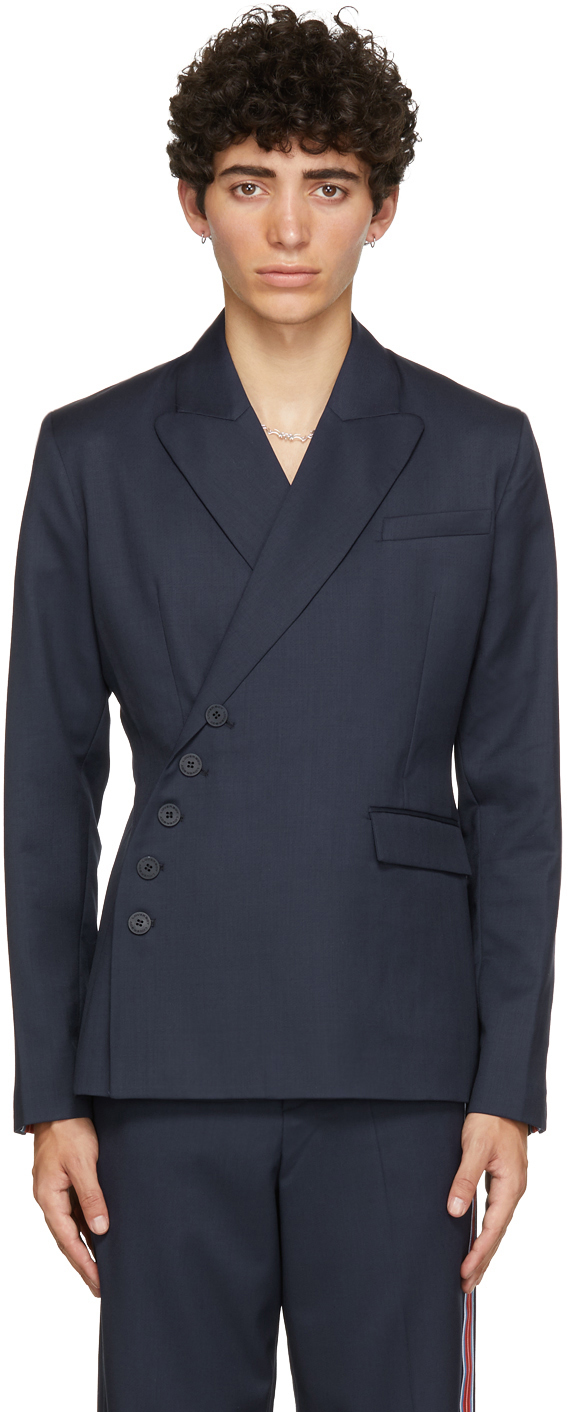 Photo: Charles Jeffrey Loverboy Navy Wool Double-Breasted Blazer