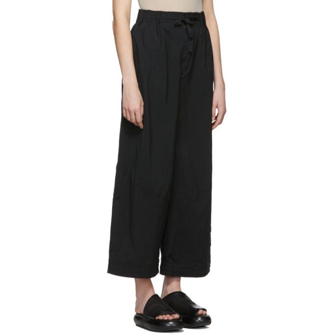 Y-3 Black Nylon Twill Wide Trousers
