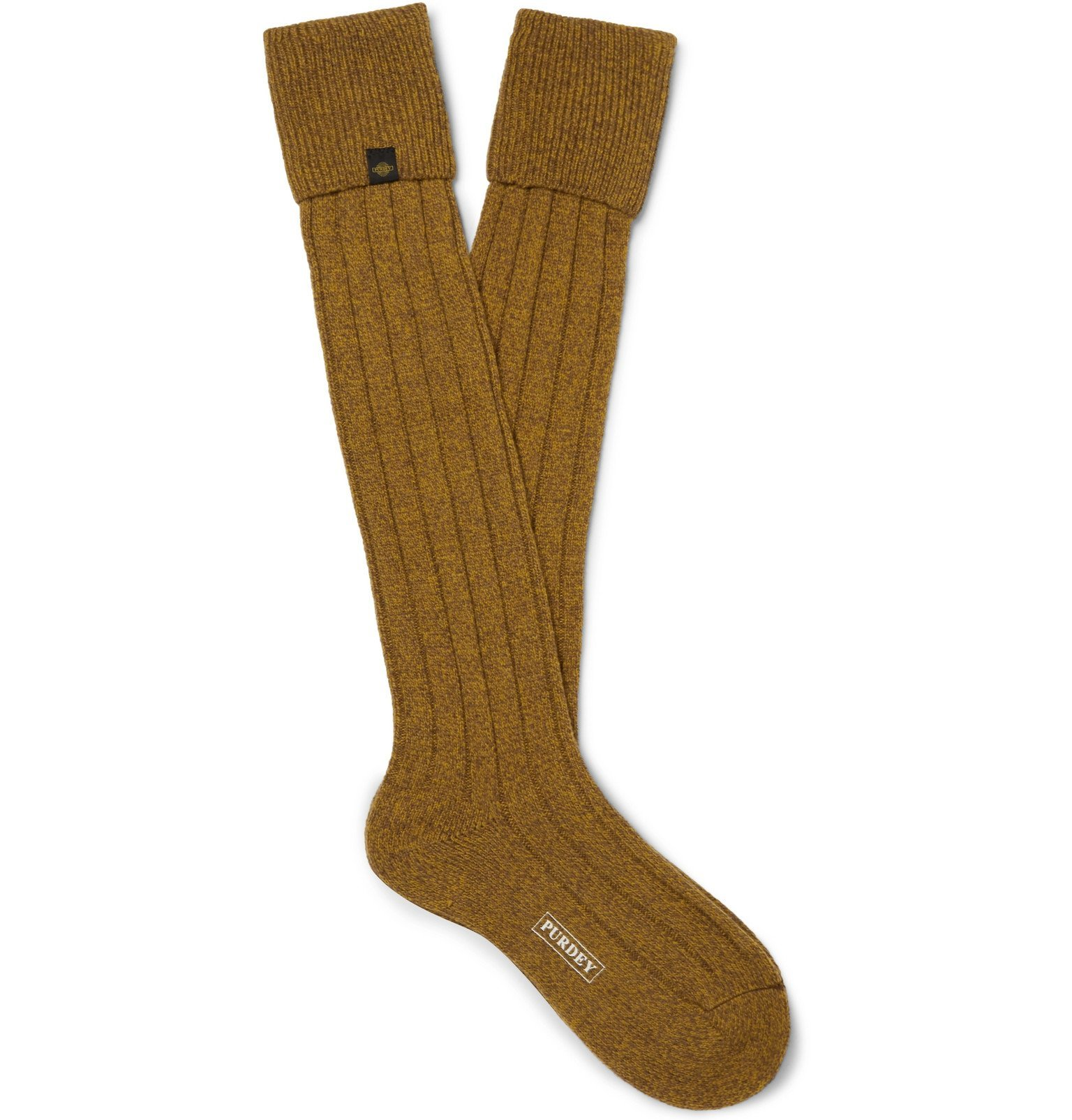 Photo: James Purdey & Sons - Ribbed Mélange Wool-Blend Socks - Yellow