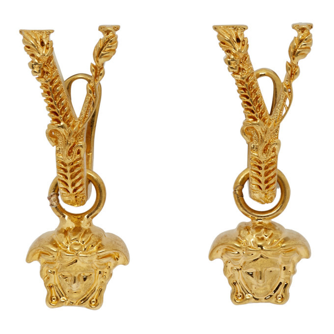 Photo: Versace Gold V Leaves Medusa Earrings