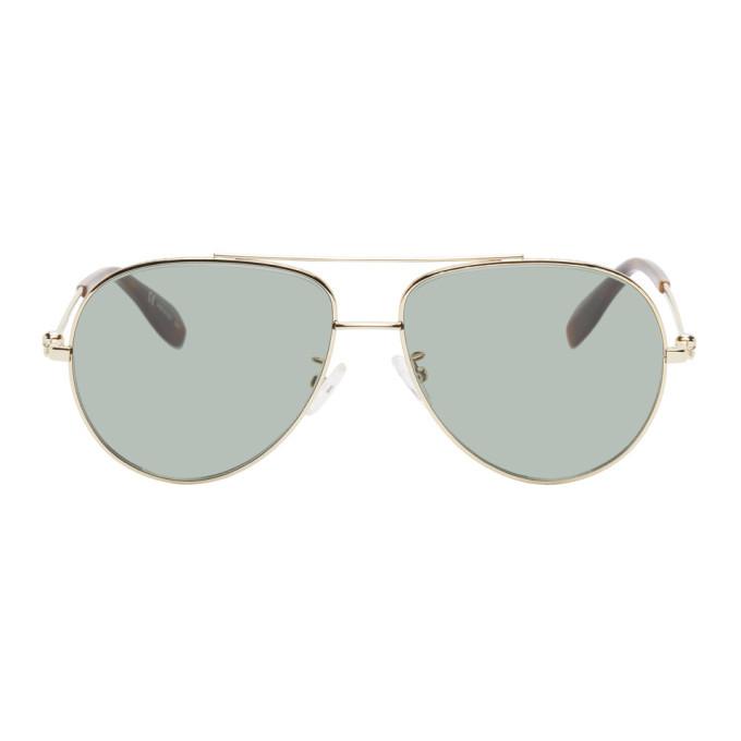 Photo: Alexander McQueen Gold Skull Aviator Sunglasses