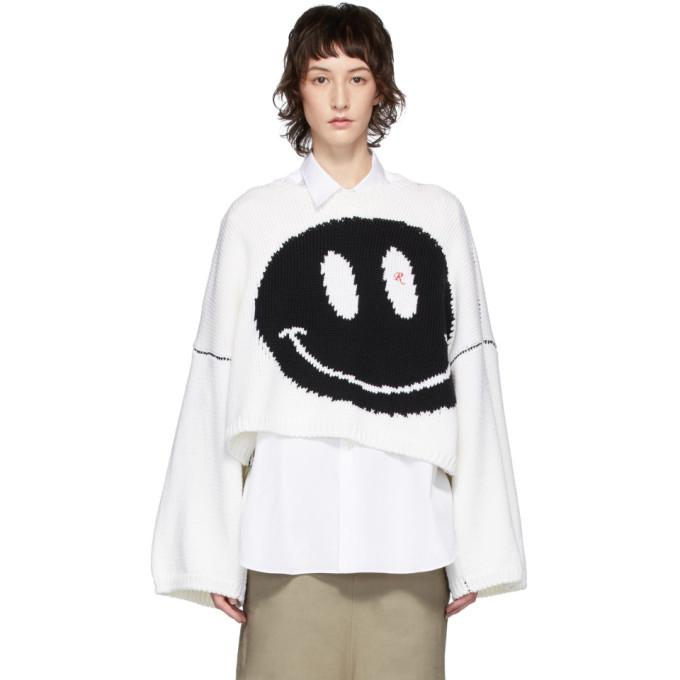 Raf Simons White Oversized Wool Smiley Crewneck Sweater